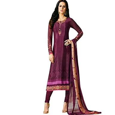 Designer Partywear Italian Crepe Embroidered Salwar Kameez Indian