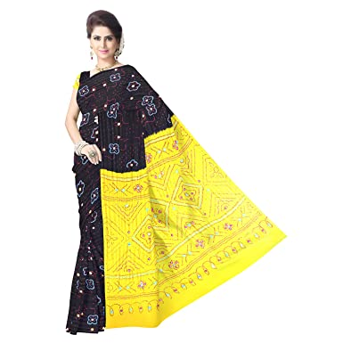 408272e5591ba Kala Sanskruti Women s Black Gaji Silk Bandhej Saree  Amazon.in ...