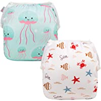 ALVABABY Baby Swim Diapers 2pcs Reuseable & Adjustable for Swimming Lesson & Baby Shower Gifts YK63-D60