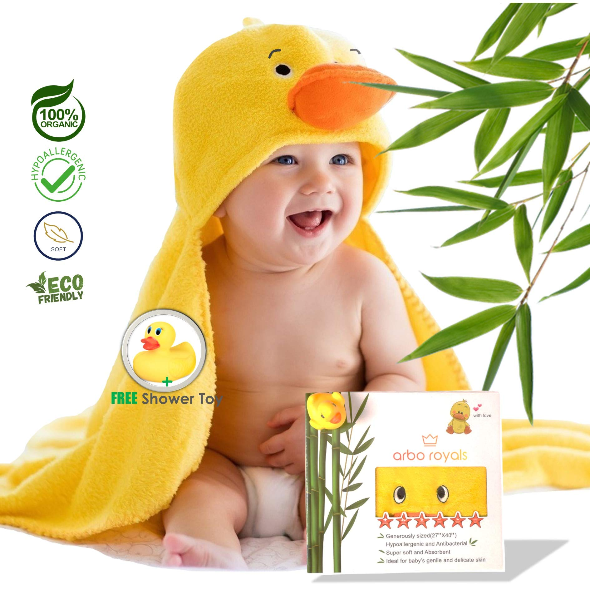 Premium Baby Hooded Towel 100% Soft Organic Bamboo Baby Bath Towels for Kids, Toddlers, Infants, for Boys and Girls | Newborn Baby Wrap Towel | Best Baby Shower Gift Ideas with Free Duck Shower Toy by Arbo Royals