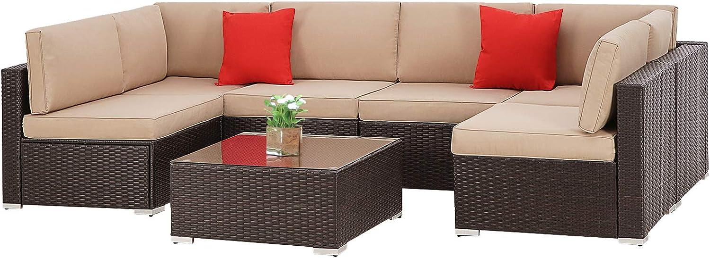 SUNCROWN 7-Piece Wicker Patio Sofa Set