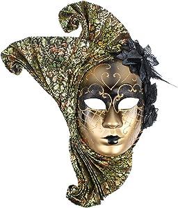 Hophen Lady Flower Jester Venetian Mask Masquerade Mardi Gras Art Wall Decorative Collection (Black)