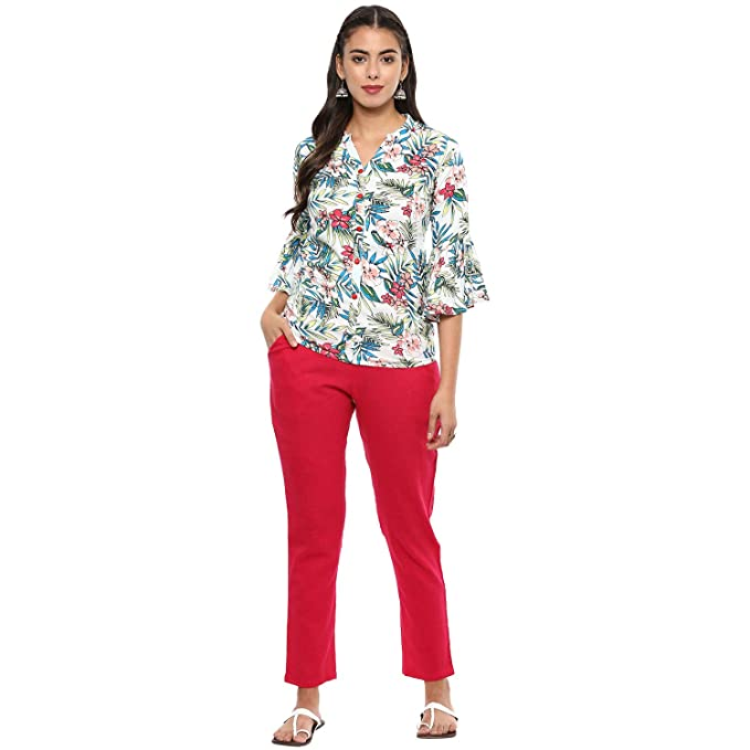 11e6e759a0c0 Yash Gallery Womens/Girls Rayon Floral Print Top & Trouser Pant Set:  Amazon.in: Clothing & Accessories