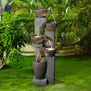 """Naturefalls 5-Tier Outdoor Water Fountains with LED Lights - 39""""H Floor Standing Indoor Water Fountains for Garden, Patio, Deck, Porch - Yard Art Decor (Grey, 39H inches)"""