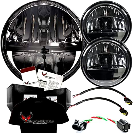 "Eagle luces 7 ""complejo reflector LED faro con LED luces de cruce para Harley"