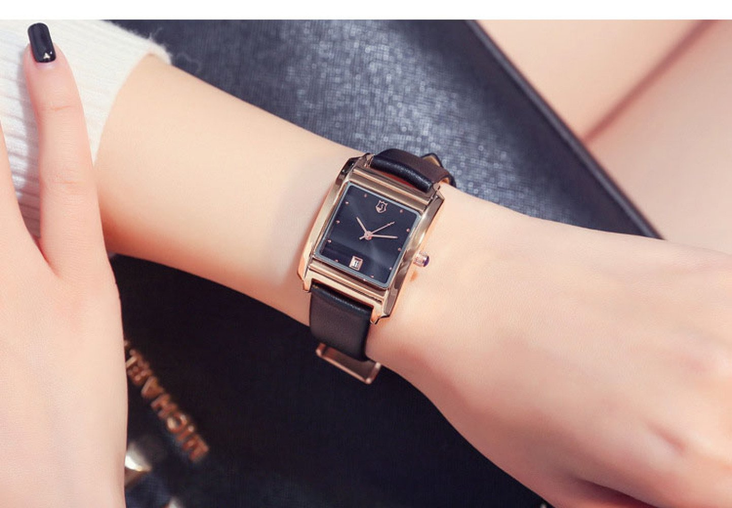 GJJ Leather Rectangular Watch Women's Calendar Simple Temperament Fashion Watch-Fashion Pointer Quartz Watch,Black face blac,A