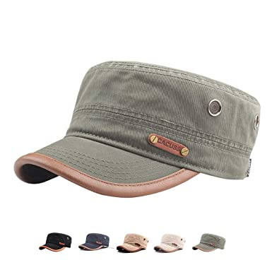840db173d7f CACUSS Cotton Classic Army Hat Adjustable Mens Caps Military Hat Comfy  Cadet Hat Vintage Flat Top Cap Baseball Cap(Army) at Amazon Men s Clothing  store