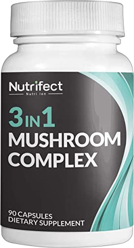 Nutrifect Nutrition 3-in-1 Mushroom Supplement – Lions Mane, Cordycepts, Reishi – Lets You Throw Away Useless Supplements, Supports Brain Health, Immune System, Natural Energy Booster, 90 Caps