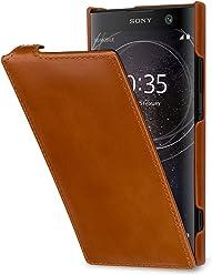 StilGut Housse pour Sony Xperia XA2 en Cuir véritable à Ouverture Verticale, Cognac