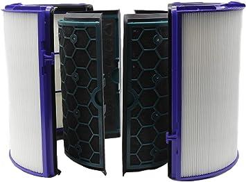 Green Label Kit de Repuesto Filtro HEPA de 360 Grados y Filtro Interior de Carbón Activado para Purificadores de Aire Dyson HP04, TP04, DP04. Reemplaza a 968708-04 ...
