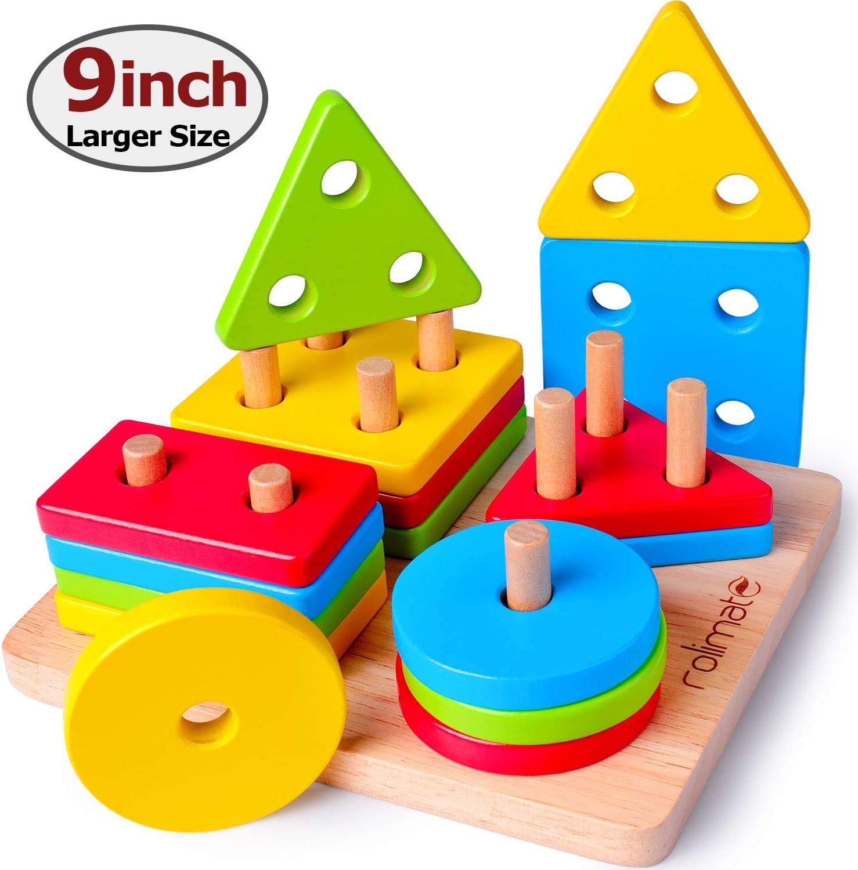 Rolimate Juguetes para Apilar Y Encajar, Stack & Sort Board Tablero para Apilar y Clasificar, Juguetes Educativos Montessori Geométrico De Madera, Regalo del Festival de cumpleaños para 2 3 4+ año