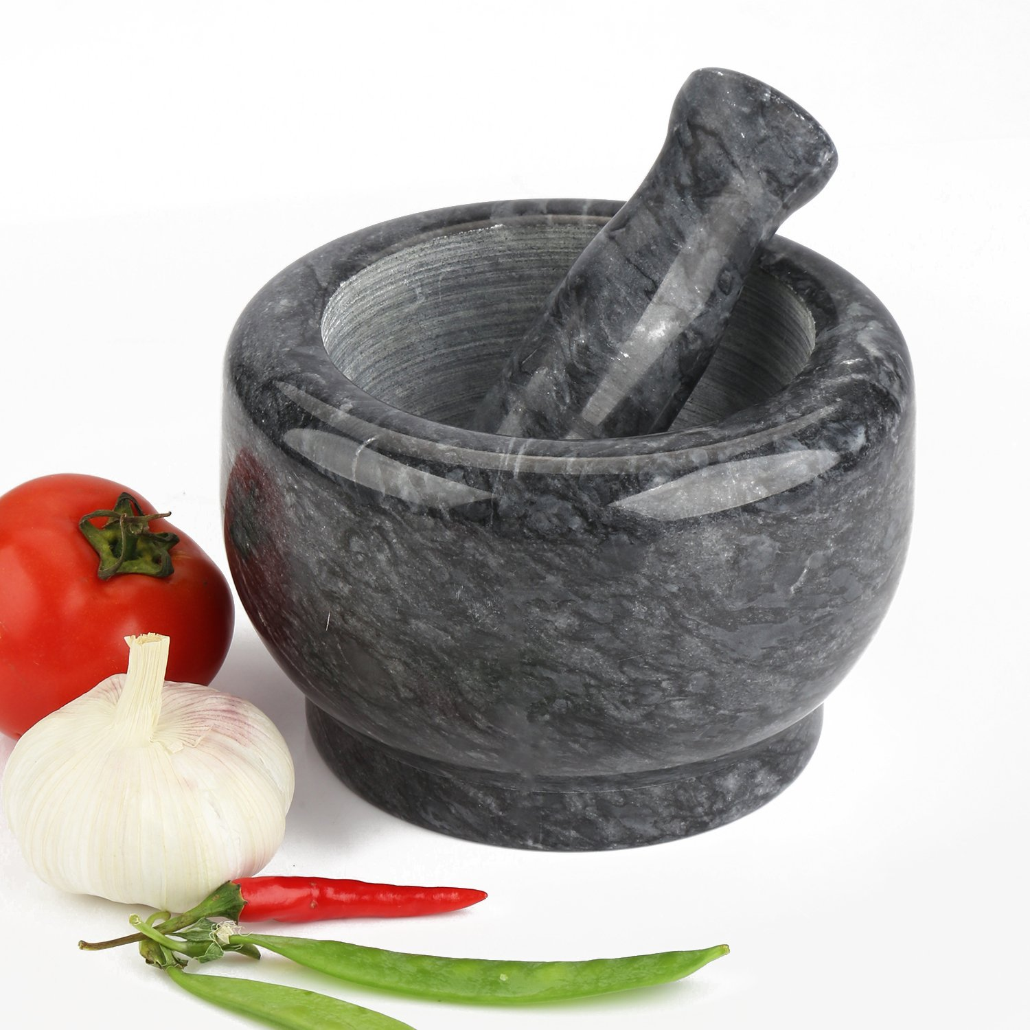Marble Mortar and Pestle Set Anzone Natural Solid Higher Seat Stoneware - 6.3 Inch Diameter