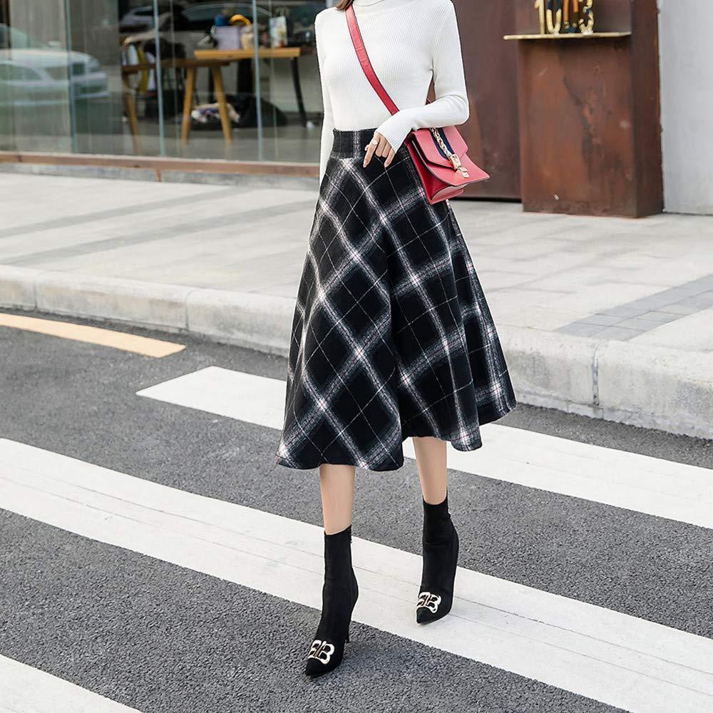 Womens Plaid Maxi Skirt A-line High Waist Winter Warm Flare Long Skirt