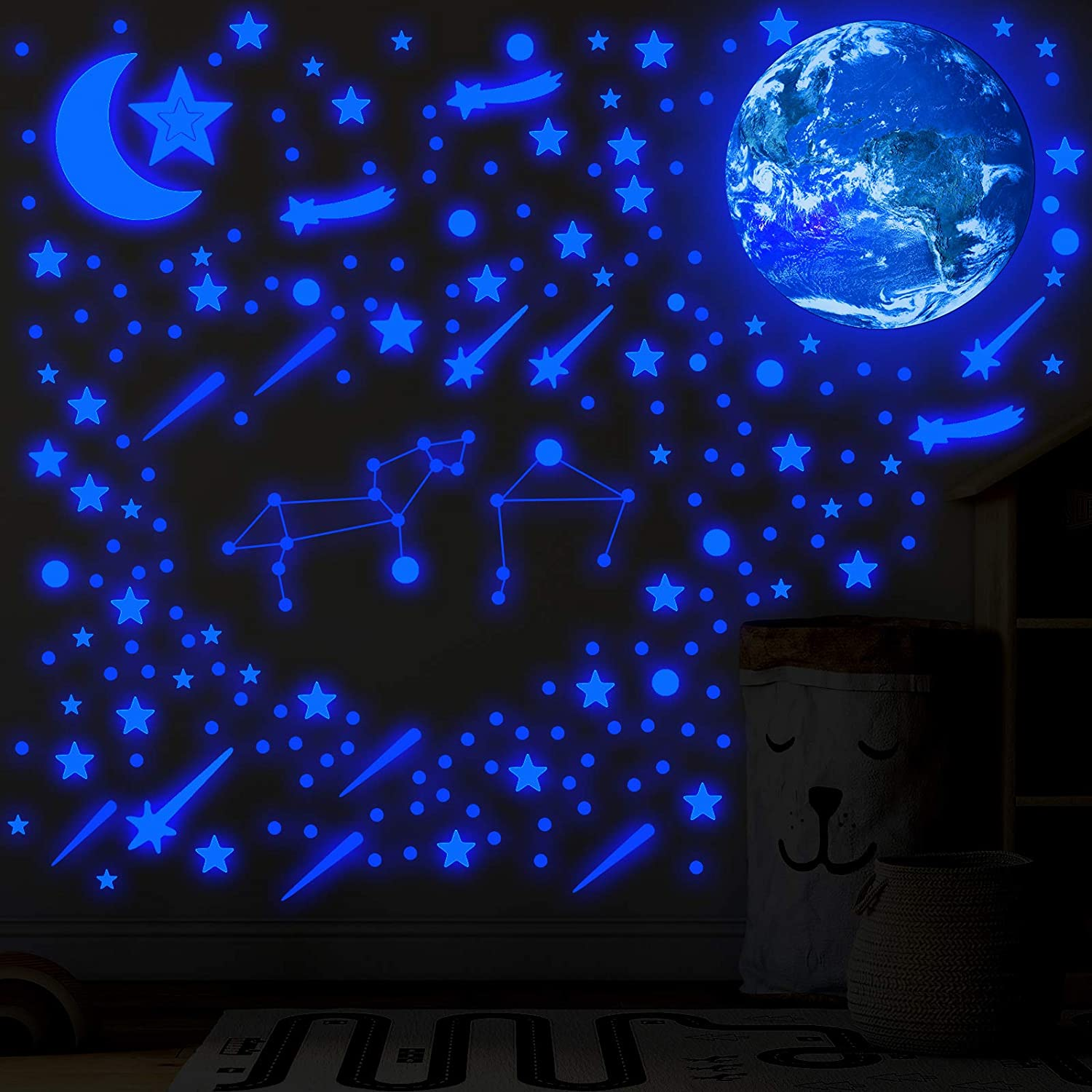 861 Pieces Glowing in The Dark Wall Stickers Self Adhesive Star Ceiling Decal 3D Fluorescent Earth Moon Wall Decal Luminous Removable Meteor Dot Ceiling Sticker for DIY Room Decoration (Blue)