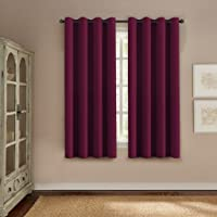 PrimePros Blackout Curtains & Drapes (Thermal Insulated Small Curtain for Bedroom) 132CM Wide x 160CM Long-Grommet Top - Solid in Plum Purple(Set of 1)