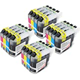 Toner Kingdom® Compatible with Brother LC103XL High Yield Ink Cartridges for DCP J152W J285DW; MFC J4310DW J450DW J470DW J475DW J650DW J870DW J875DW J245 J6520DW J6720DW J6920DW (16PK, 4BK/4C/4M/4Y)