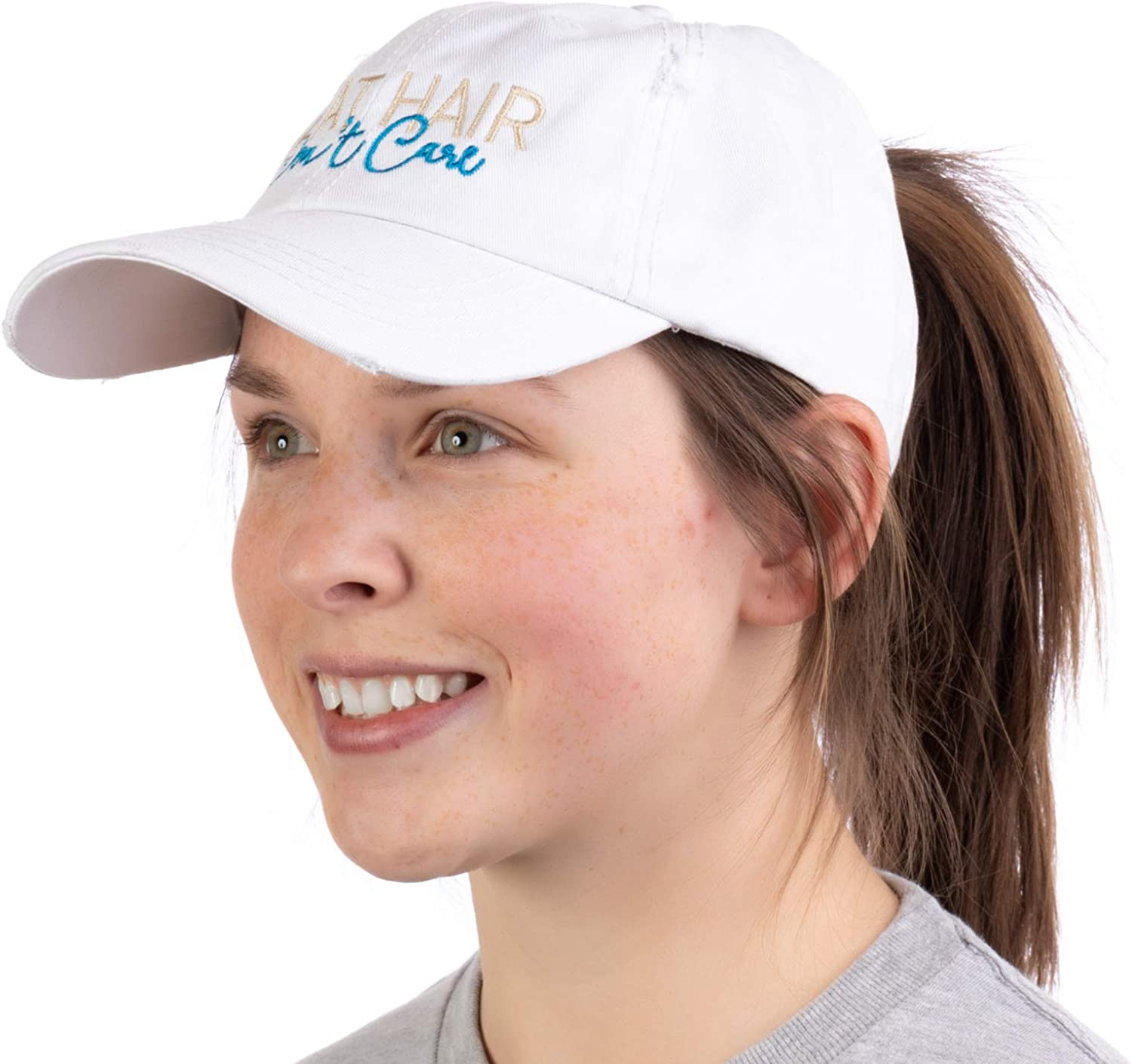 Boat Hair, Don't Care | Ponytail Dad Hat, Boating Lake Cute Pony Tail Low Cap