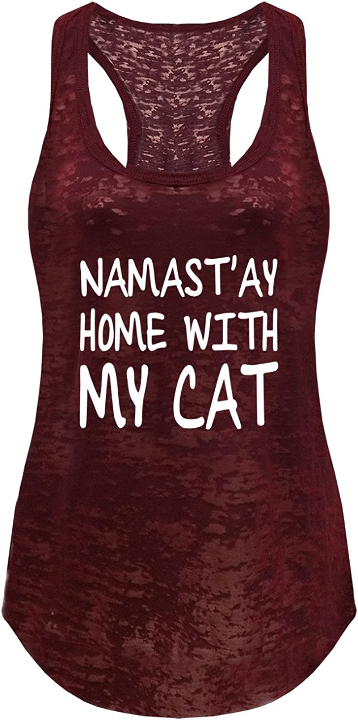 Tough Cookie Clothing Tank Top – Women's Sleeveless Workout Yoga Burnout Racerback Namastay at Home with My Cat Print T Shirt