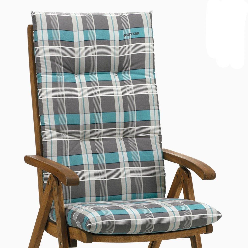 6 kettler auflagen f r hochlehner dessin 770 rudi in blau grau kariert g nstig kaufen. Black Bedroom Furniture Sets. Home Design Ideas