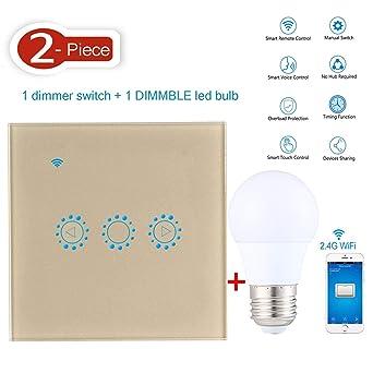 AOLVO Alexa Luz Interruptor Regulador, 1pieza WiFi Smart Dimming Interruptor 1 pieza de intensidad regulable