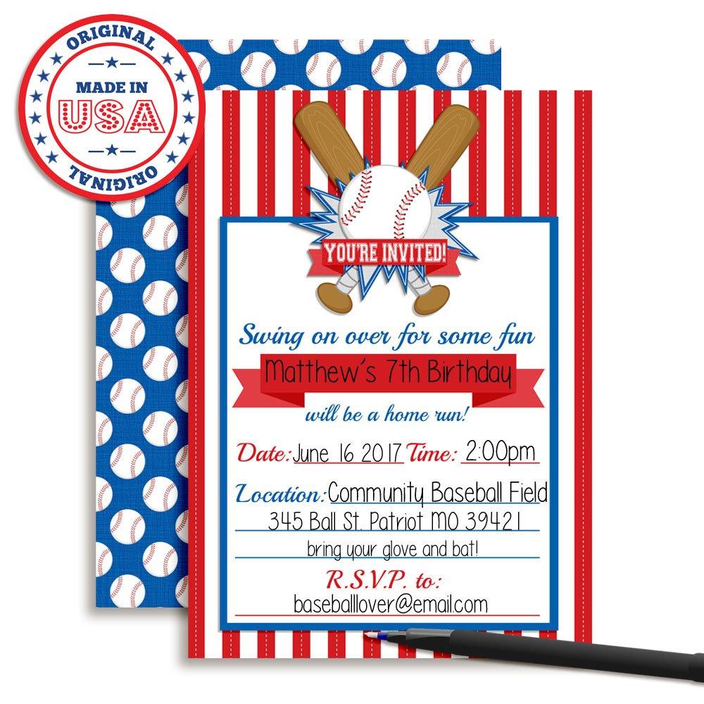 Amazon.com: Baseball Themed Birthday Party Invitations, Ten 5\