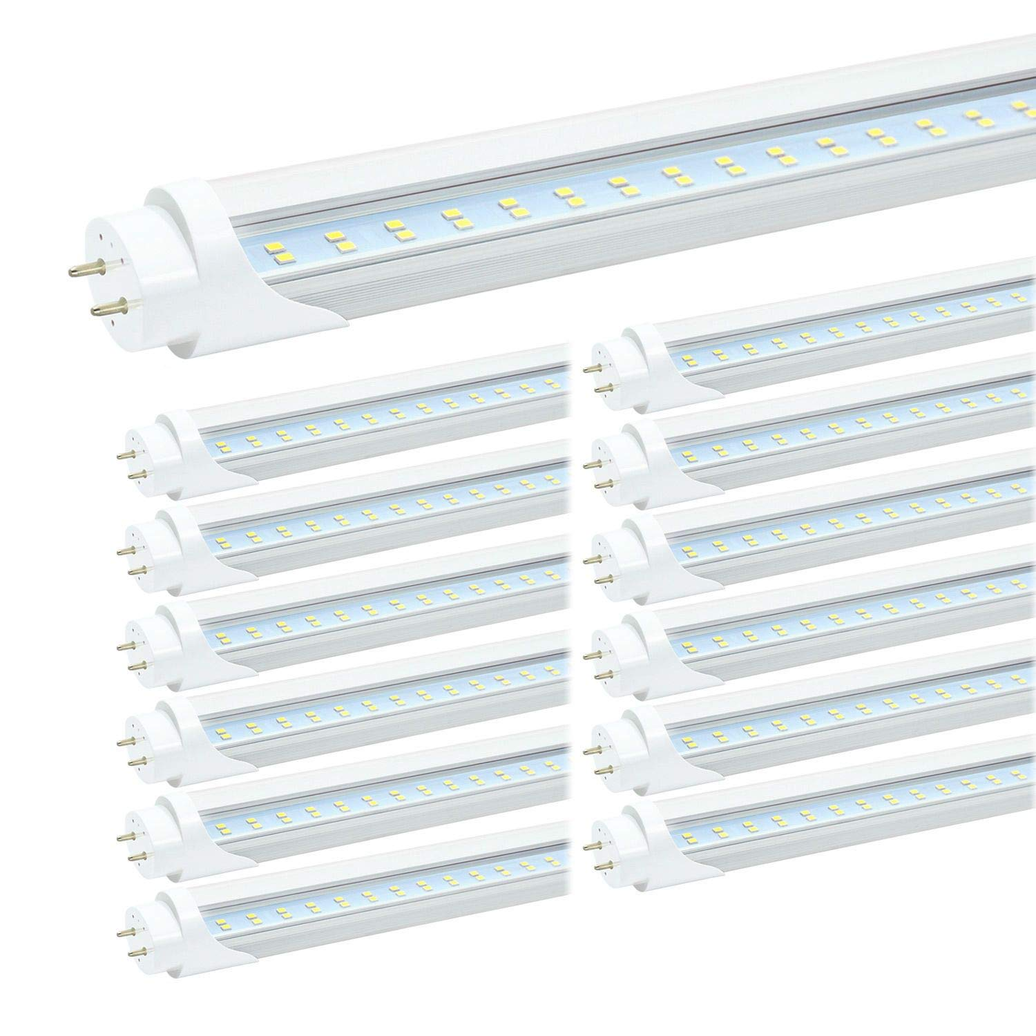 JESLED 4FT LED Tube Light - 24W 3000LM, 6000K Cool White, T8 T10 T12 LED Replacement Bulbs for Fluorescent Fixture, Clear, Dual-end Powered, Ballast Bypass, Garage Warehouse Shop Lights (12-Pack)