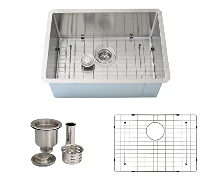 25 Inch Undermount Single Bowl Kitchen Sink 16 Gauge Stainless