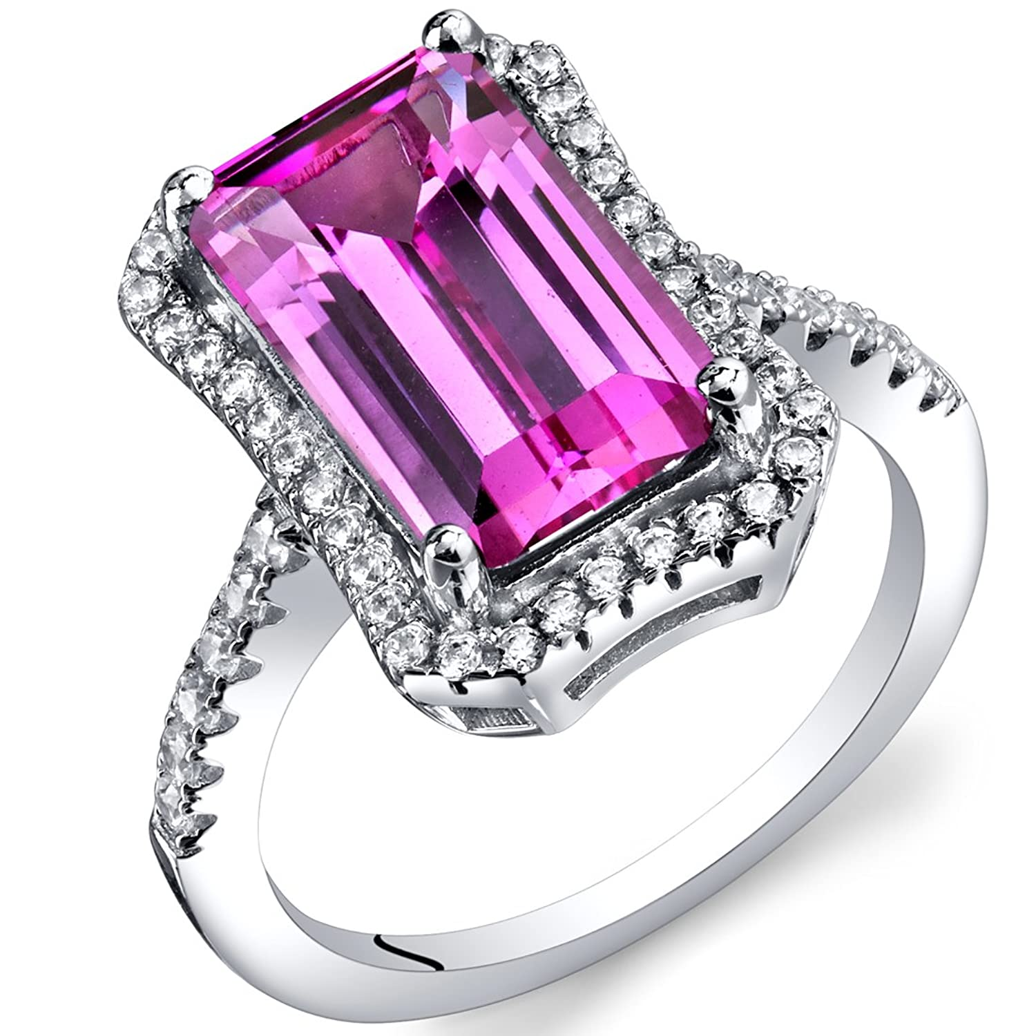 4.50 Carat Created Pink Sapphire Octagon Ring Sterling Silver Sizes 5 to 9