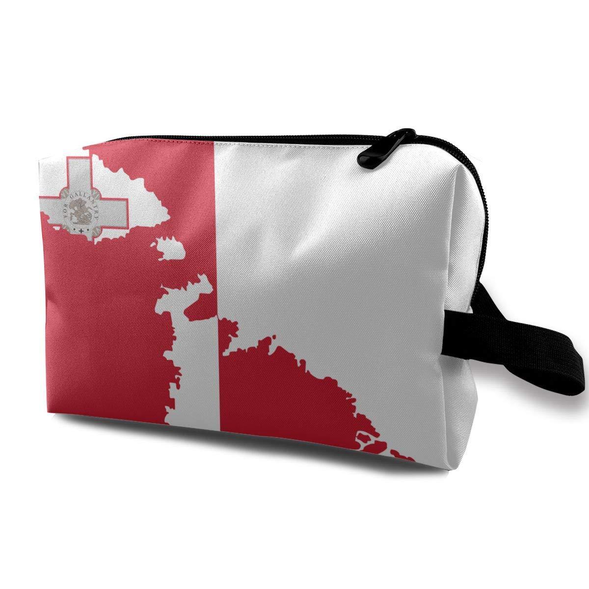 Malta Map Flag Bolsas de cosm/éticos peque/ñas Bolsa de maquillaje de viaje Organizador de moda