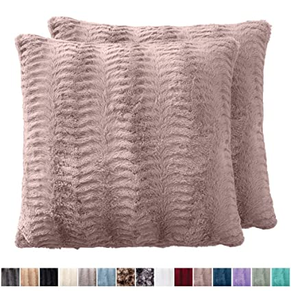 The Connecticut Home Company Original Faux Fur Pillowcases, Set Of 2 Decorative Case Sets, Throw Pillow Covers, Luxury Soft Cases For Kids Bedroom, Living Room, Sofa, Bed (18x18 Inch, Dusty Rose) by The Connecticut Home Company