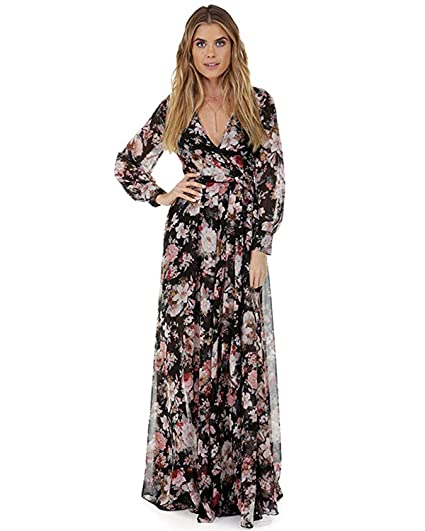 e7f6b7176af0a Women Vintage Floral Long Sleeve Dress Bohemian Chiffon Wrap Boho Maxi  Dresses