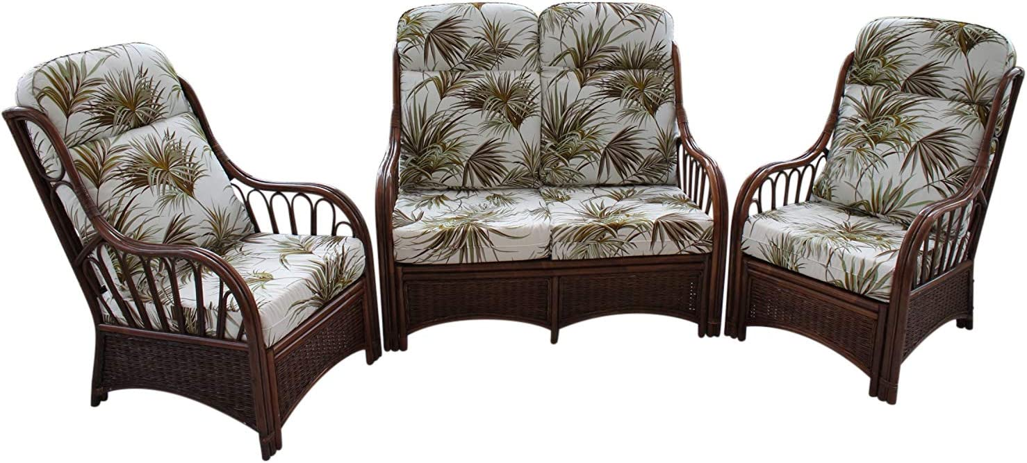 Garden Market Place Verona Cane Conservatory Furniture 3 Piece Suite 2 Chairs And A Sofa Palm Design Fabric 119 X 80 X99 Amazon Co Uk Kitchen Home