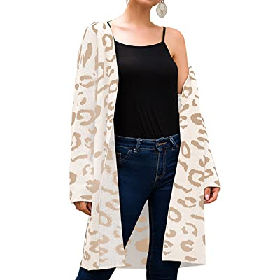 Angashion Women's Long Sleeves Leopard Print Knitting Cardigan Open Front Warm Sweater Outwear Coats with Pocket… at Women's Clothing store