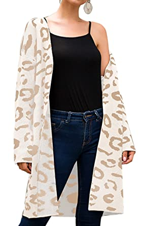 638deb9691e87d Angashion Women's Long Sleeves Leopard Print Knitting Cardigan Open Front  Warm Sweater Outwear Coats 318Beige S