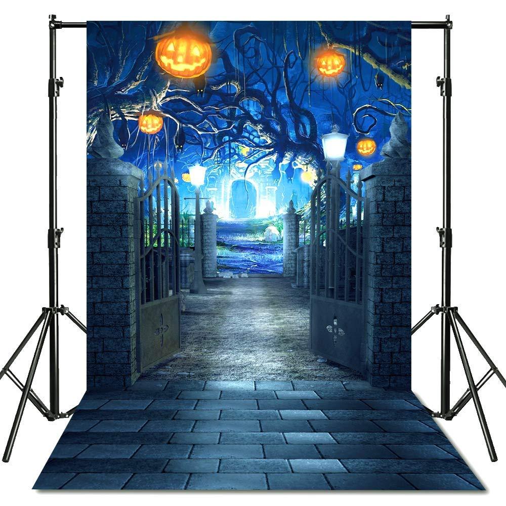 econious Halloween Backdrop, 5x7ft Halloween Horrible Stone Castle Terror Tree Pumpkin Lantern Backdrop for Studio Props Photo Backdrop, Soft Fabric (Backdrop Only) by econious