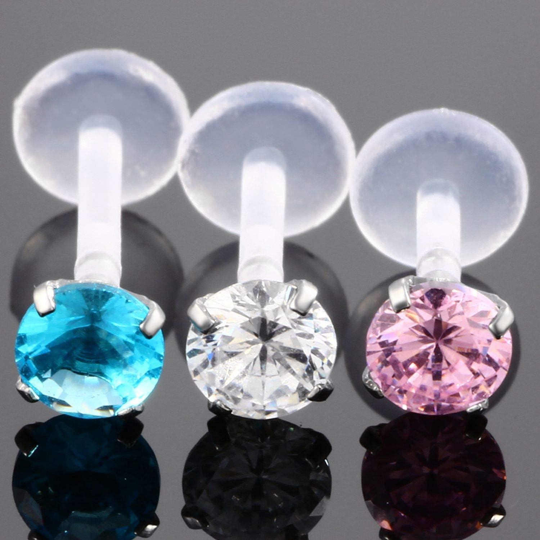 1Pc Pink Blue Clear Crystal Ptfe Bioplast Labret Lip Stud Piercing Piercing Body Jewelry,16Gx10x5mm,pink
