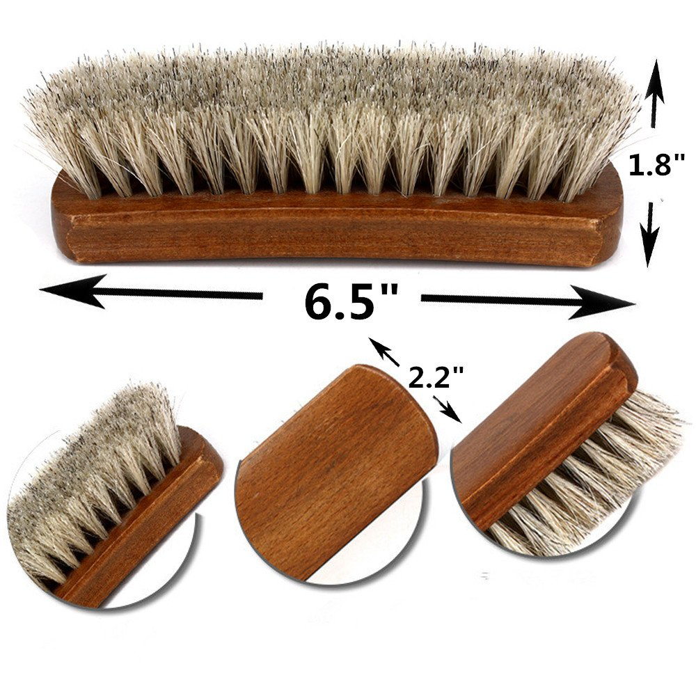 Shoe Shine Brushes MoYag Large Professional Horse Hair Brushes for Shoes, Boots & Other Leather Care by MoYag (Image #2)
