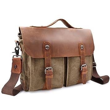 NEWHEY Mens Vintage Canvas Genuine Leather Messenger Laptop Bag Large XL  Size 14 Inch retro Computer 0ab566d503c53