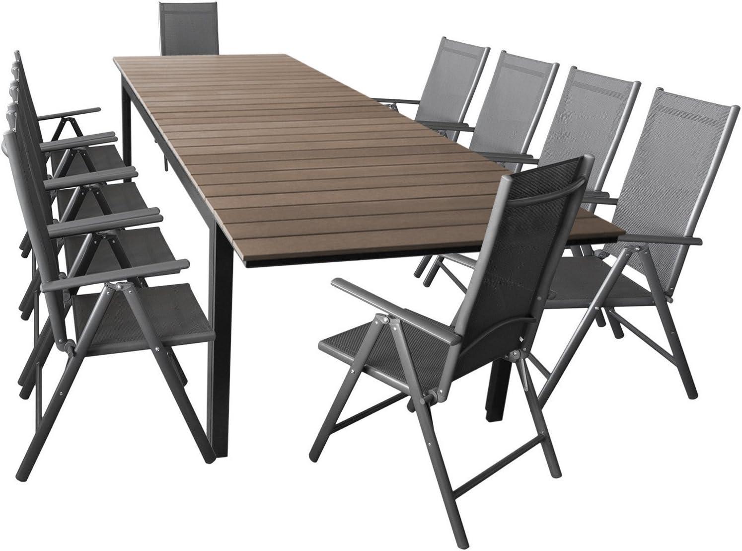 WOHAGA Elegante Asiento Cama de 11/Piezas Asiento Grupo Jard/ín/ /Mesa Extensible 280//220/x 95/cm /Muebles de Jard/ín Terraza Juego de Muebles Aluminio polywood/ 10/x Respaldo Alto 2/x