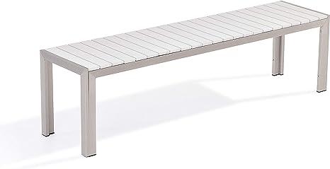 Praktisches Gartenmöbel Set Kunstholz 2 Bänke Tisch weiß