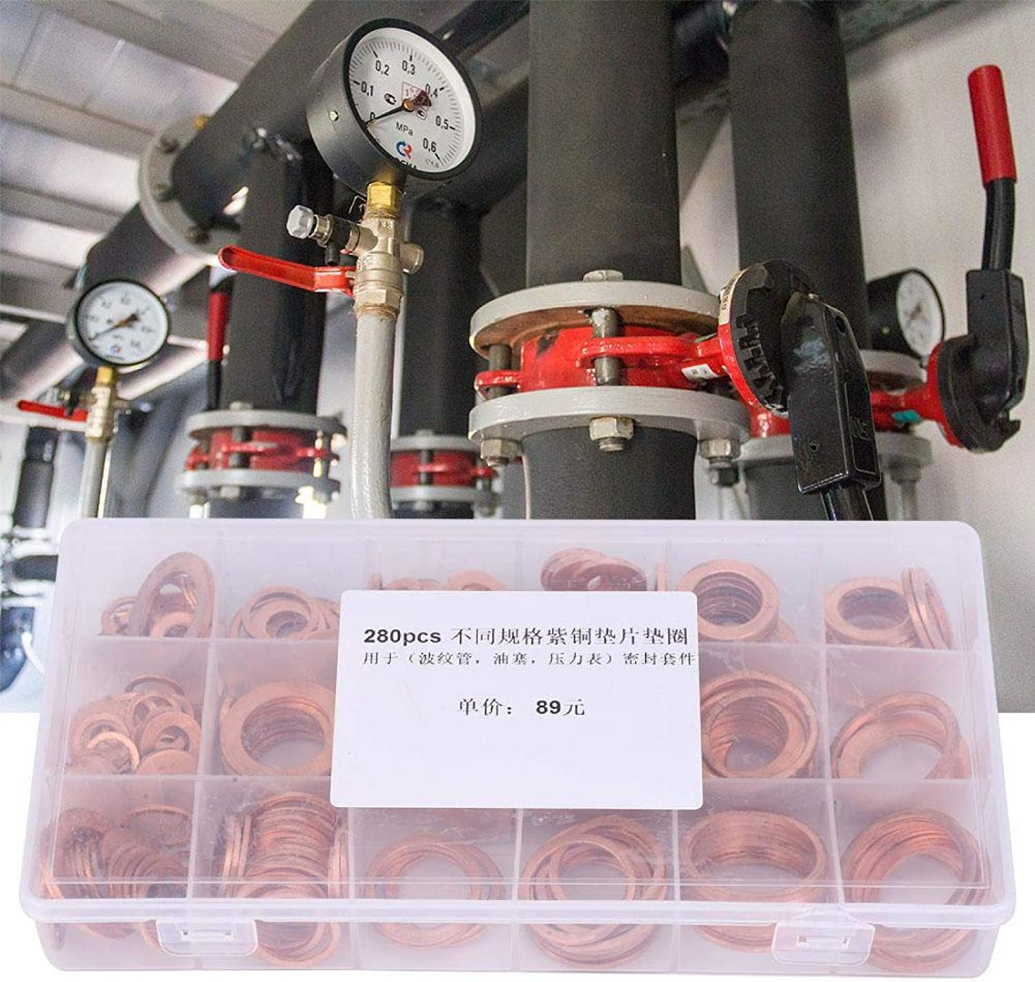 Durable Copper Washer Convenient With A Box 280Pcs for Pressure Gauge Bellows 14 Kinds Gasket