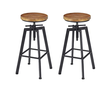 Superbe VILAVITA 2 Set Bar Stools, 24.8u0026quot; To 30.8u0026quot; Adjustable Height  Swivel Counter