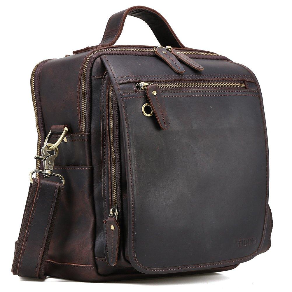 Tiding Vintage Mens Small Handmade Leather Messenger Bag Handbag Travel Bag Crossbody IPad Bag Brown