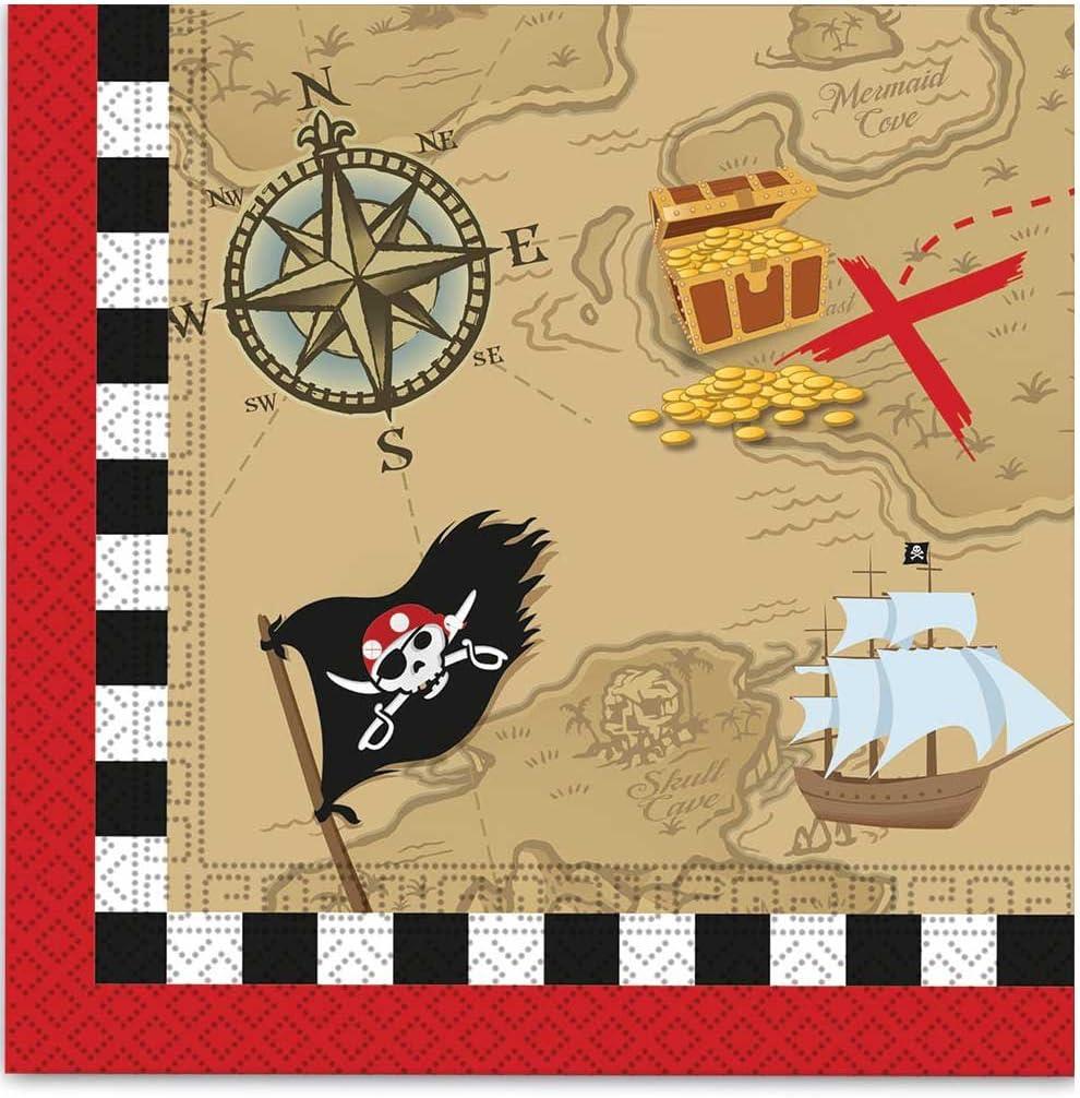 20 Servilletas papel Mapa del Tesoro pirata 33x33 cm: Amazon.es: Juguetes y juegos