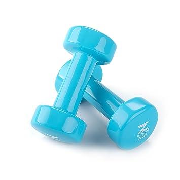 ZELUS Mancuernas de Hierro Fundido con Revestimiento de Vinilo para Entrenamiento Fitness(Juego de 2) Azul 3kg: Amazon.es: Deportes y aire libre