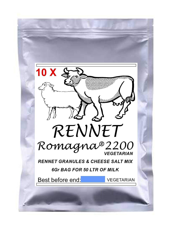 RENNET ROMAGNA 10 X Granules Mix 6g Pack Vegetarian Rennet & Cheese Salt Mix for 50 L Milk …