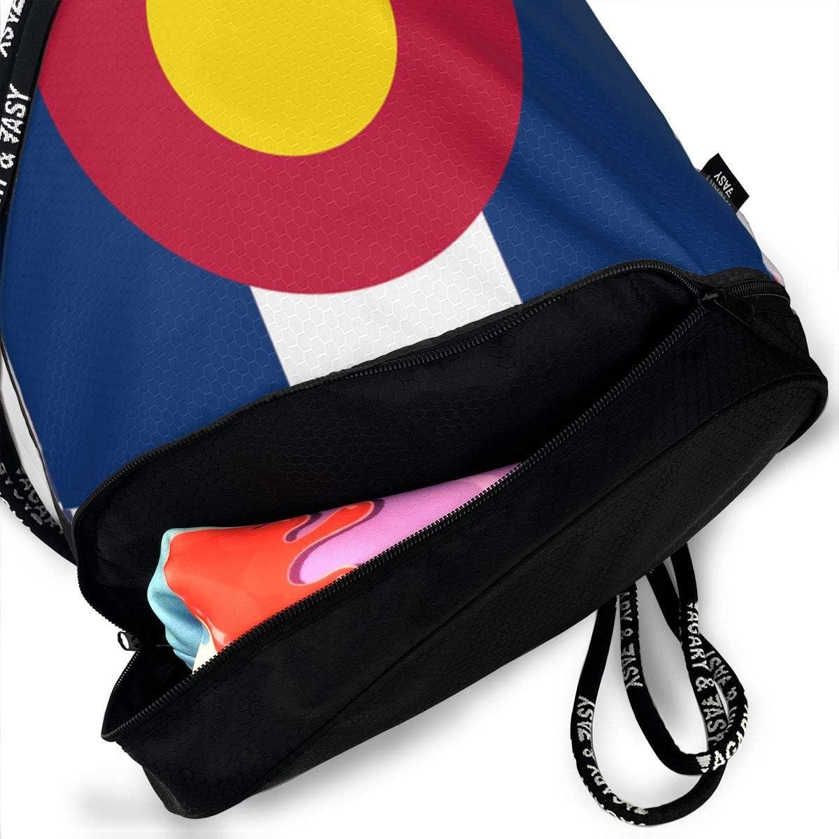 HUOPR5Q Colorado Flag Drawstring Backpack Sport Gym Sack Shoulder Bulk Bag Dance Bag for School Travel