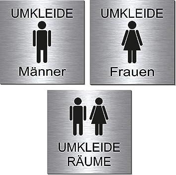 WC-Kunden-Toiletten-Bad-Klo-Symbol-Schild 100 x 100 x 3 mm-Aluminium Edelstahloptik silber mattgeb/ürstet Hinweisschild-Warnschild-1910-12