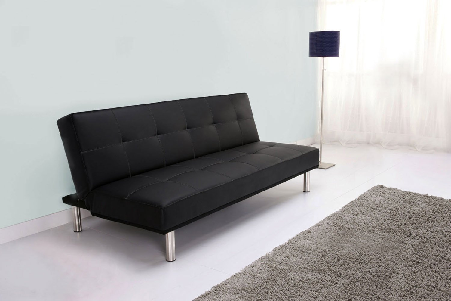 Leader Lifestyle Zenko Faux Leather Futon Sofa Bed, Black: Amazon.co.uk:  Kitchen & Home