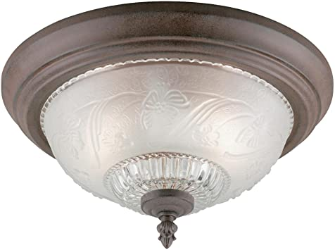 Westinghouse Lighting 6431600 Two Light Flush Mount Interior Ceiling Fixture Sienna Finish With Embossed Floral And Leaf Design Glass Close To Ceiling Light Fixtures Amazon Com